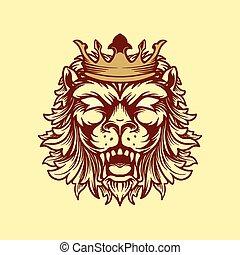 stile, illustrazione, vendemmia, leone, incoronato, vettore