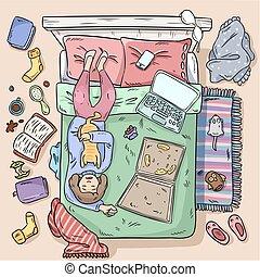 stile, image., ragazza, disordine, cima grande, bed., vista., home., comico, procrastinating