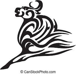 stile, image., tribale, -, vettore, toro