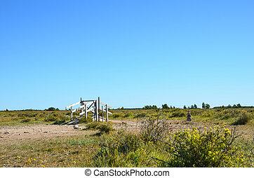 Stile in a plain landscape