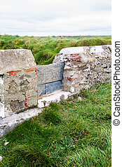 Stile in stone wall - Old simple stile in stone wall.
