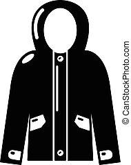 stile, incappucciato, semplice, giacca, nero, icona