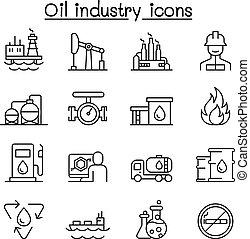stile, industria olio, set, linea sottile, icona