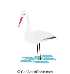 stile, isolato, cicogna, fondo., bianco, cartone animato, icona