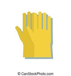 stile, isolato, gomma, fondo., guanti, bianco, cartone animato, icona