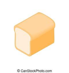stile, isometrico, bread, 3d, icona