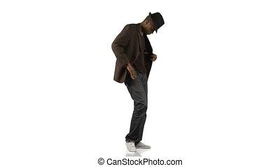 stile, junge, afro-american, tanzen, verschieden, musik