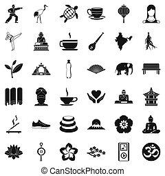 stile, lezione, set, yoga, icone semplici