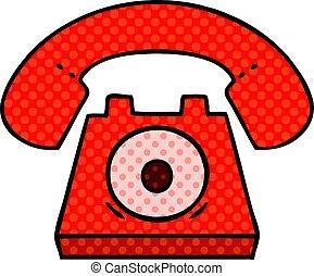 stile, libro telefono, comico, cartone animato, rosso
