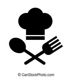 stile, linea, forchetta, chef, cucchiaio, cappello