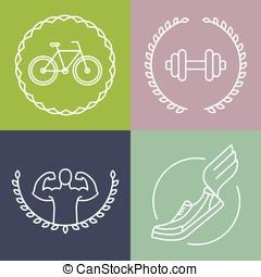 stile, logos, sport, contorno, vettore