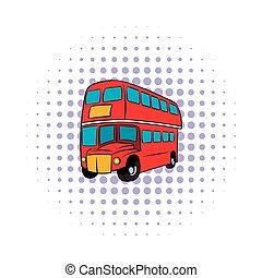 stile, londra, decker, comics, doppio, rosso, autobus, icona