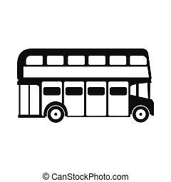 stile, londra, decker, doppio, semplice, autobus, icona
