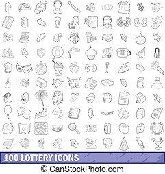 stile, lotteria, contorno, icone, set, 100