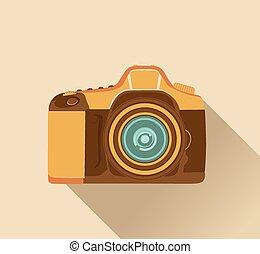 stile, macchina fotografica, retro