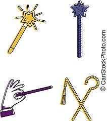 stile, magia, contorno, set, colorare, bastone, icona