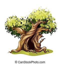stile, magia, illustration., quercia, racconto, albero., fata, cartone animato