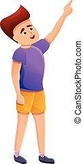 stile, mano, ragazzo, icona, cartone animato, mostra
