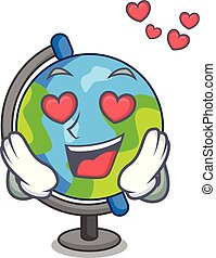 stile, mascotte, amore, globo, cartone animato
