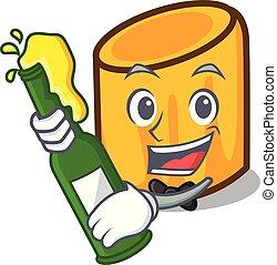 stile, mascotte, birra, cartone animato, rigatoni