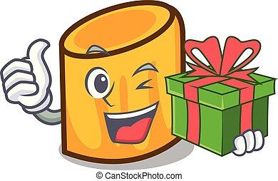 stile, mascotte, cartone animato, regalo, rigatoni