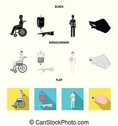 stile, medicazione, trasfusione, appartamento, icone, dottore, dottore., nero, web., illustrazione, simbolo, sangue, vettore, invalido, mani, collezione, monocromatico, medicineset, trauma, casato