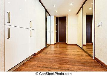 stile, minimalismo, moderno, interno, corridoio, specchio, guardaroba, sliding-door