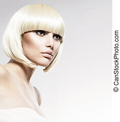 stile, moda, bellezza, portrait., taglio capelli, modello, ...
