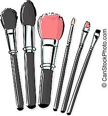 stile, moda, fare, spazzole, su, illustrazione