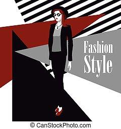 stile, moda, rossetto, wo, manifesto, sfondo nero, completo, geometrico, rosso