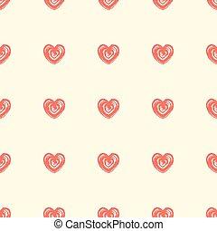 stile, modello, seamless, mano, hearts., disegnato, grunge