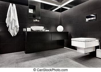 stile, moderno, bagno, minimalismo, nero, toni, interno, bianco