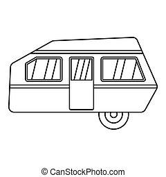 stile, moderno, contorno, campeggiare, icona, roulotte
