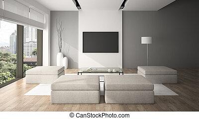 stile, moderno, interpretazione, interno, minimalismo, 3d