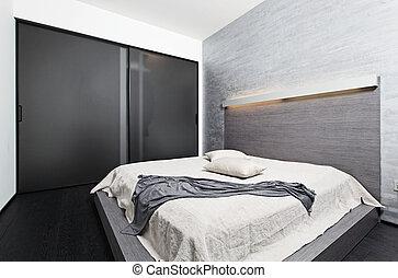 stile, moderno, minimalismo, beige, toni, camera letto, interno