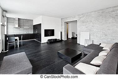 stile, moderno, minimalismo, nero, toni, interno, bianco, drawing-room