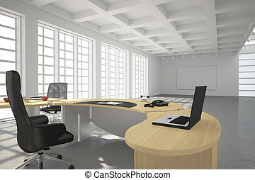 stile, moderno, soffitta, ufficio