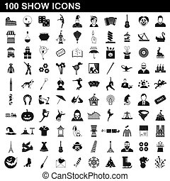 stile, mostra, set, icone, semplice, 100