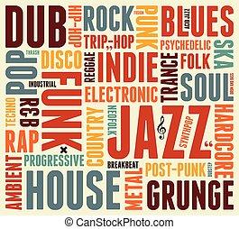 stile, musik, poster., typographisch