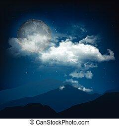 stile, notte, halloween, paesaggio, luna