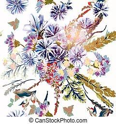 stile, o, modello, fiori, illustrazione, floreale, campo, vendemmia