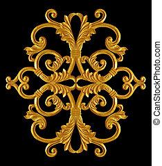 stile, oro, vendemmia, ornamento, placcato, floreale