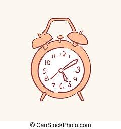 stile, orologio, scarabocchiare, allarme, mano, vettore, disegno, illustrazioni, disegnato