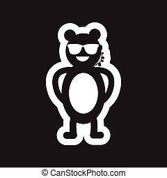 stile, orso, nero, sicurezza, bianco, icona