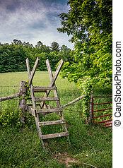 Stile over a fence along the Appalachian Trail