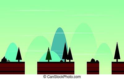 stile, paesaggio, gioco, fondo, cartone animato