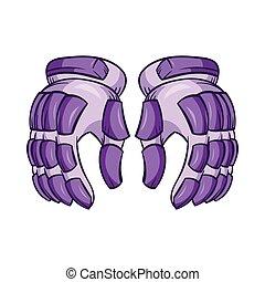 stile, paio, guanti, hockey, icona, cartone animato