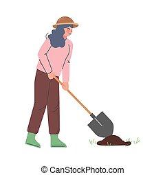 stile, pala, fattoria, giardiniere, vettore, vangata, donna, cartone animato, contadino, illustrazione, lavoratore agricolo, carattere, femmina, lavorativo