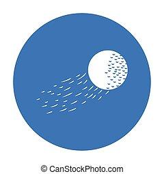 stile, palla, golf, illustration., club, simbolo, volare, isolato, fondo., vettore, nero, bianco, icona, casato