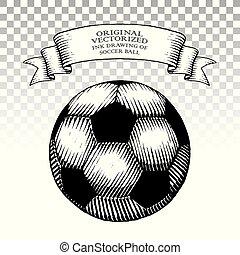 stile, palla, scratchboard, inchiostro, calcio, disegno